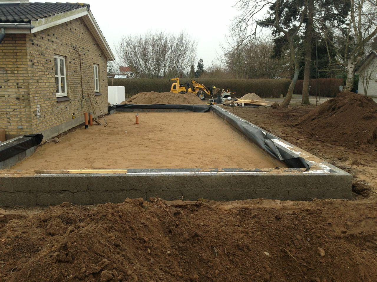 Fundament klar til at blive støbt med beton