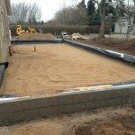 Støbning af fundament til tilbygning